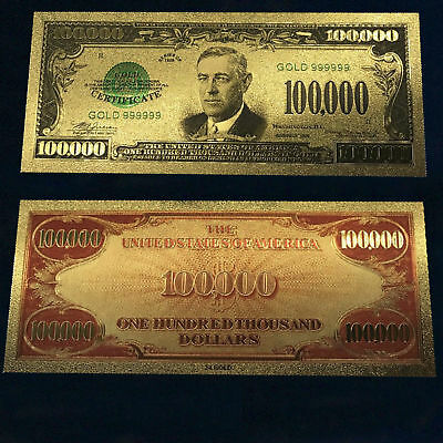 24K Gold Plated 1934 $100000 Dollar Bill Us Currency Money Novelty Banknote