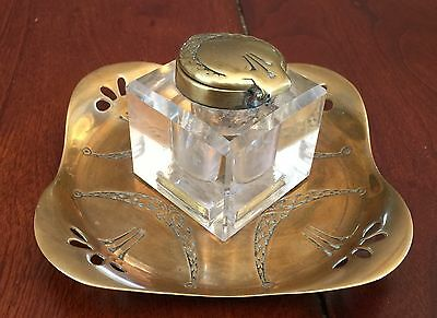 Antique 'Gesch' Inkwell, Brass and Glass Inkwell with Brass Tray Vintage