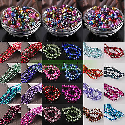 3/4/6/8/10mm Faceted Rondelle/Bicone/Round Half Plated Crystal Glass Loose Beads