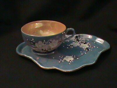 Cup and Luncheon Plate Set Japan Hand Painted Purple White Flowers gift
