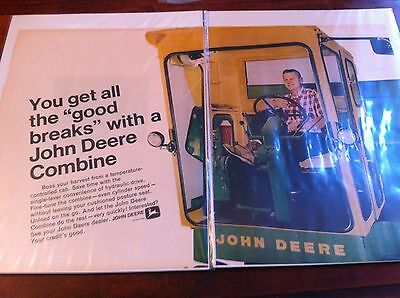 Vintage 1969 John Deere Combine Get All The Good Breaks Two Page Print ad