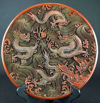 Large Chinese carved Cinnabar Dragon Charger