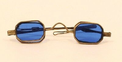 Pair of 18th-19th  c metal and blue glass sunglasses - spectacles