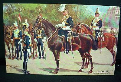 Tuck's Oilette Postcard Pre WW1 17th  Lancers Telling Off For Road Duty Military