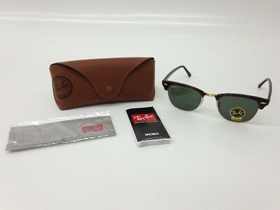 bd76aadcef New RayBan Clubmaster Genuine RB3016 W0366 Tortoise Frame Green G-15 Lenses  51mm