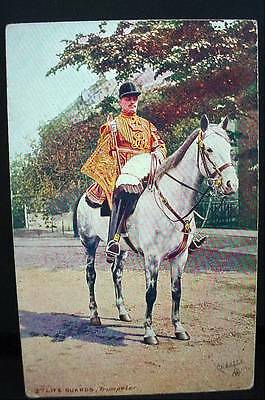 Tuck's Oilette Military Postcard WW1 2nd Life Guards Trumpeter Mounted # 9426