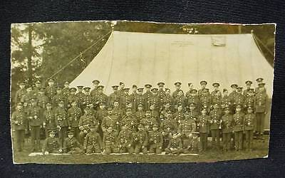 Pre WW1 Photo Postcard British Soldiers in Front of Tent with Advertising Sign