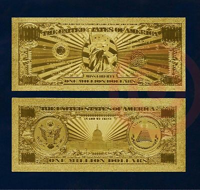 Million Dollar Bill Novelty Bill Gold Plated Foil Money With Currency Sleeve
