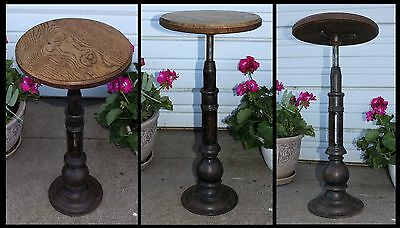 Antique Industrial Cast Iron & Wood Elevator Operator Stool w Spinning Oak Seat
