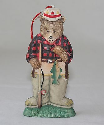 Midwest Cannon Falls Bear Fisherman Hanging Ornament Figurine Holding Fish