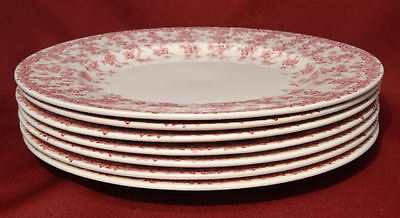 """Crown Ducal Early English Ivy (Joy) Pink  9 7/8"""" Dinner Luncheon Plates- NICE!"""