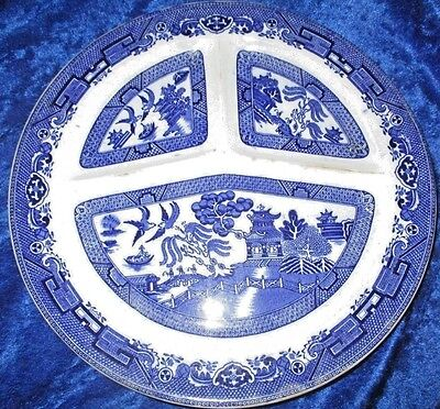 """2 Vintage Rowland & Marcellus Blue Willow Grill Plates 10.75"""" Made In England"""