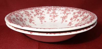 """Crown Ducal Early English Ivy (Joy) Pink 6 3/8"""" Cereal Bowls Dishes- NICE!"""