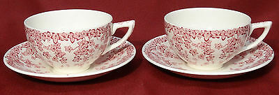 Crown Ducal Early English Ivy (Joy) Pink 2 Coffee Cups & Saucers