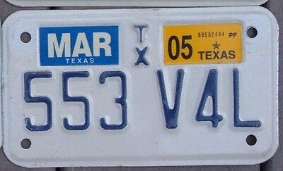 TEXAS 2005  Motorcycle Cycle License plate  553 V 4 L   ^