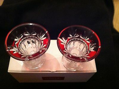 Cristal D' Arques (2) Lead Crystal Cornith Ruby Candle Holders - New In Box