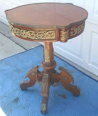 French Style Round Pedestal Lamp Table And Ormolu Mounts