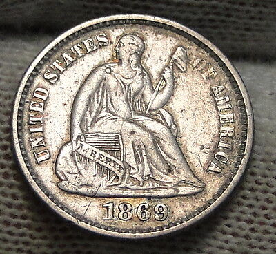 1869 Seated Liberty Half Dime H10C - Key Date, 208,000 Minted (5518)