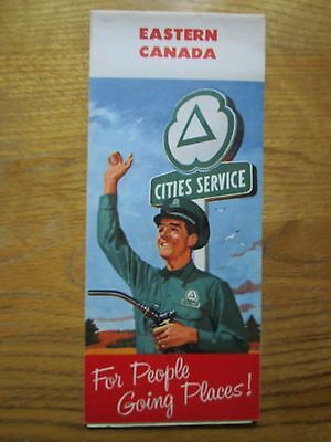 Vintage 1958 Cities Service Folded Travel Guide Map - Eastern Canada