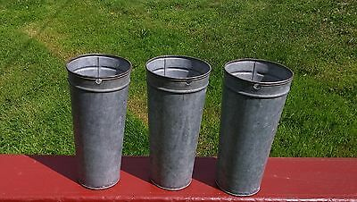 3 NICE OLD TALL GALVANIZED Maple Syrup Sap Buckets TAPERED w/ DOUBLE RIM!!