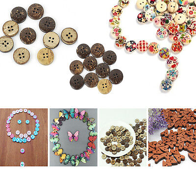 NEW 50/100X Bulk Design Heart Round Cloth Sewing Wood Buttons Craft Notions 15mm