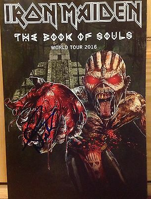Iron Maiden Nicko Mcbrain Signed Book Of Souls Tour Program Book Official Cool