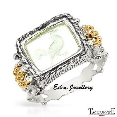 US$420 TAGLIAMONTE Ring Made in ITALY Venetian Glass 14K/925 Gold Plated 70% OFF
