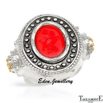 US$600 TAGLIAMONTE Ring Made in ITALY CAMEO 14K/925 Gold Plated Silver 70% OFF