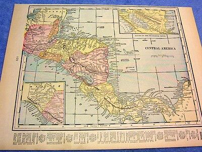 Antique Map Of Central America W/ Light Houses, Ports. Halfmoon Key Light   1899