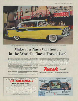 Make it a Nash Vacation in the World's Finest Travel Car! Ad 1956
