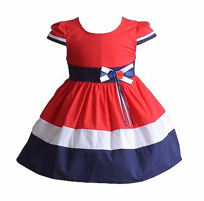 New Baby Girls Red White and Blue Cotton Summer Party Dress 9-12 Months