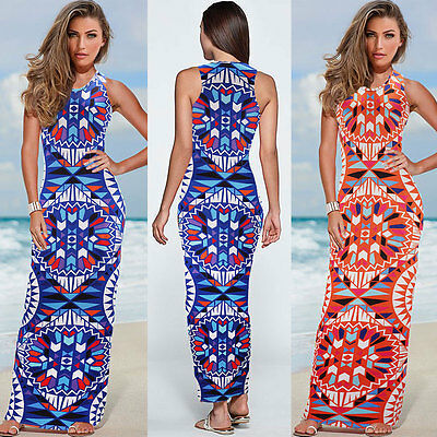 Vintage Women Summer Sleeveless Print Maxi Party Beach Evening Long Dress