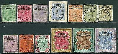 SG 1 - 13 British somaliland ½d - 5R set of 13 very fine used CAT £190