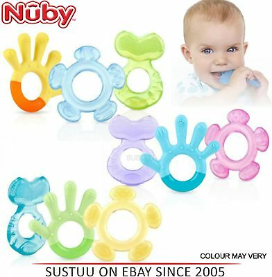 Nuby 3 Step Teether Soothing Baby Teething Gel Infant Toy Set +3 Months 3 Pack