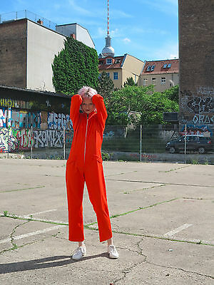 Overall Einteiler knall orange 70er True VINTAGE woman jumpsuit 70s Damenmode