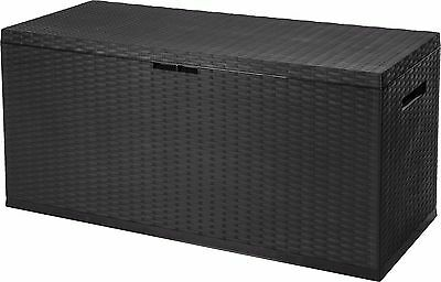 350L Large Outdoor Garden Storage Roller Box Plastic Rattan Container Chest Lid