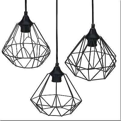 Modern Black Geometric Metal Wire Hanging Ceiling Light Pendant Fixture Shade