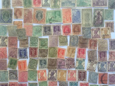 100 Different India Stamp Collection - Queen Victoria to George VI only