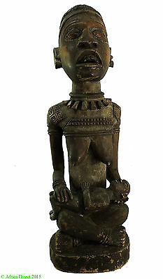 Yombe Sitting Maternity Figure Congo 34 Inch African Art SALE WAS $390