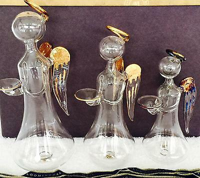 Bloomingdale's Soffieria Parise Set of 3 Glass Angels Candle Holder Made Italy