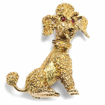 Ein Pudel aus London: Gold Brosche, datiert 1964 Brosche, Poodle Dog Brooch Hund