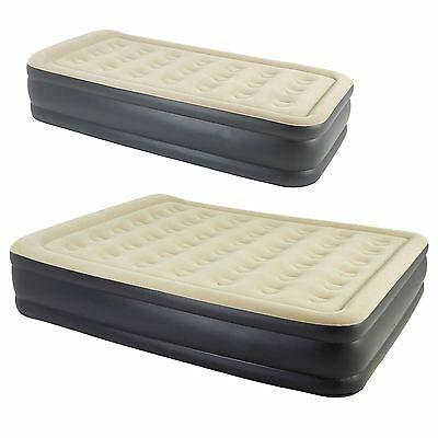 Single/ Double High Raised Inflatable Air Matress Bed W Build In Electric Pump