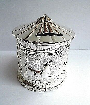 """BABY/CHRISTENING GIFT - """"9cm SILVER PLATED CAROUSEL MONEY BOX"""" in a GIFT BOX-NEW"""