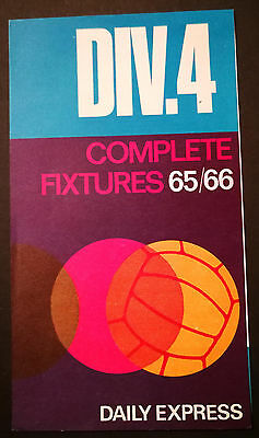 Daily Express Division 4 Complete Fixtures 1965/66 PROGRAMMES - BUY 2 GET 1 FREE