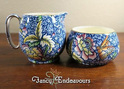 Royal Winton Chintz Anemone Blue Countess Shape Creamer and Open Sugar Bowl