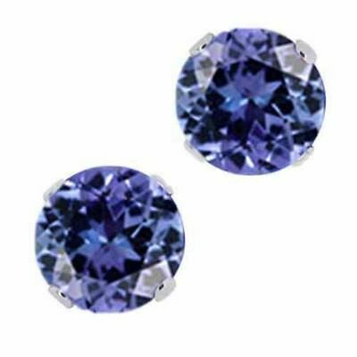 1.00 Ct Round Tanzanite Solid 14K White Gold Stud Earrings
