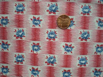 FLORAL GEO Vtg FEEDSACK Quilt Sewing Doll Clothes Craft Cotton Fabric Red Blue