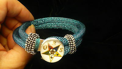 Eastern Star cord & bead bracelet OES NEW TURQUOISE BLUE snap bead