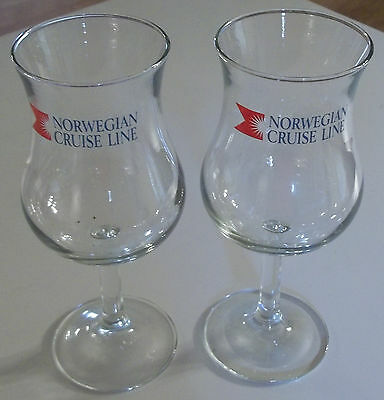 Lot of (2) NORWEGIAN CRUISE LINE Wine Glasses 7 3/4 inches tall