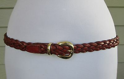 Dockers Womens Thin Skinny Brown Leather Woven Braided Gold Buckle Belt  L